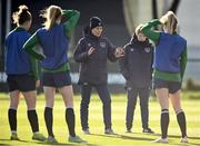 5 April 2021; Manager Vera Pauw, centre, speaks to her players alongside assistant coach Eileen Gleeson during a Republic of Ireland WNT training session at FAI National Training Centre in Dublin. Photo by David Fitzgerald/Sportsfile