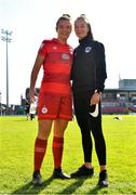 3 April 2021; Saoirse Noonan of Shelbourne with her sister and Cork City womens under 19 player Aoibhe following the SSE Airtricity Women's National League match between Cork City and Shelbourne at Turners Cross in Cork. Photo by Eóin Noonan/Sportsfile
