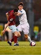 3 April 2021; Charlie Lyons of Cobh in action against Colm Whelan of UCD during the SSE Airtricity League First Division match between Cobh Ramblers and UCD at St Colman's Park in Cobh, Cork. Photo by Eóin Noonan/Sportsfile