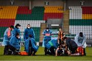 2 April 2021; Brian Gartland of Dundalk is given medical attention during the SSE Airtricity League Premier Division match between Shamrock Rovers and Dundalk at Tallaght Stadium in Dublin. Photo by Eóin Noonan/Sportsfile