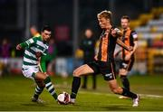 2 April 2021; Greg Sloggett of Dundalk in action against Danny Mandroiu of Shamrock Rovers during the SSE Airtricity League Premier Division match between Shamrock Rovers and Dundalk at Tallaght Stadium in Dublin. Photo by Eóin Noonan/Sportsfile