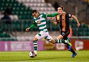 2 April 2021; Sean Kavanagh of Shamrock Rovers in action against Raivis Jurkovskis of Dundalk during the SSE Airtricity League Premier Division match between Shamrock Rovers and Dundalk at Tallaght Stadium in Dublin. Photo by Eóin Noonan/Sportsfile