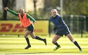 5 April 2021; Louise Quinn, right, and Aine O'Gorman during a Republic of Ireland WNT training session at FAI National Training Centre in Dublin. Photo by David Fitzgerald/Sportsfile