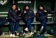 5 April 2021; From left, Niamh Farrelly, Grace Moloney and Ruesha Littlejohn during a Republic of Ireland WNT training session at FAI National Training Centre in Dublin. Photo by David Fitzgerald/Sportsfile