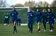 5 April 2021; Rianna Jarrett, left, and Megan Connolly during a Republic of Ireland WNT training session at FAI National Training Centre in Dublin. Photo by David Fitzgerald/Sportsfile