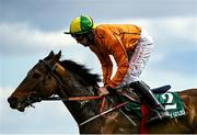 5 April 2021; Behind The Wall, with Conor Maxwell up, during the Rathbarry & Glenview Studs Juvenile Hurdle during day three of the Fairyhouse Easter Festival at the Fairyhouse Racecourse in Ratoath, Meath. Photo by Harry Murphy/Sportsfile