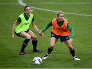 7 April 2021; Lilly Agg, right, and Megan Connolly during a Republic of Ireland training session at Tallaght Stadium in Dublin. Photo by Stephen McCarthy/Sportsfile