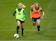 7 April 2021; Denise O'Sullivan, left, and Ellen Molloy during a Republic of Ireland training session at Tallaght Stadium in Dublin. Photo by Stephen McCarthy/Sportsfile