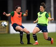 7 April 2021; Keeva Keenan, right, and Aine O'Gorman during a Republic of Ireland training session at Tallaght Stadium in Dublin. Photo by Stephen McCarthy/Sportsfile
