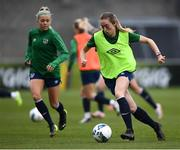 7 April 2021; Megan Connolly and Denise O'Sullivan, left, during a Republic of Ireland training session at Tallaght Stadium in Dublin. Photo by Stephen McCarthy/Sportsfile