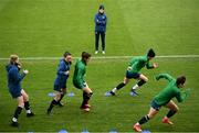 7 April 2021; Manager Vera Pauw watches her players warm-up during a Republic of Ireland training session at Tallaght Stadium in Dublin. Photo by Stephen McCarthy/Sportsfile