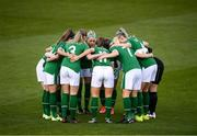 8 April 2021; Republic of Ireland players huddle before the women's international friendly match between Republic of Ireland and Denmark at Tallaght Stadium in Dublin. Photo by Stephen McCarthy/Sportsfile