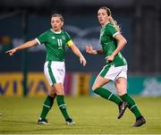 8 April 2021; Megan Connolly, right, and Katie McCabe of Republic of Ireland during the women's international friendly match between Republic of Ireland and Denmark at Tallaght Stadium in Dublin. Photo by Stephen McCarthy/Sportsfile