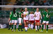 8 April 2021; Pernille Harder of Denmark with Katie McCabe of Republic of Ireland after the women's international friendly match between Republic of Ireland and Denmark at Tallaght Stadium in Dublin. Photo by Eóin Noonan/Sportsfile