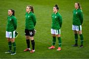 8 April 2021; Republic of Ireland players, from left, Katie McCabe, Grace Moloney, Keeva Keenan and Megan Connolly before the women's international friendly match between Republic of Ireland and Denmark at Tallaght Stadium in Dublin. Photo by Eóin Noonan/Sportsfile