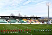 8 April 2021; Players from both teams stand for the playing of Amhrán na bhFiann before the women's international friendly match between Republic of Ireland and Denmark at Tallaght Stadium in Dublin. Photo by Eóin Noonan/Sportsfile