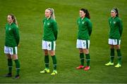 8 April 2021; Republic of Ireland players, from left, Megan Connolly, Louise Quinn, Niamh Fahey and Jamie Finn before the women's international friendly match between Republic of Ireland and Denmark at Tallaght Stadium in Dublin. Photo by Eóin Noonan/Sportsfile