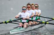 9 April 2021; Ireland rowers, from left, Emily Hegarty, Fiona Murtagh, Eimear Lambe and Aifric Keogh compete in their heat of the Women's Four during Day 1 of the European Rowing Championships 2021 at Varese in Italy. Photo by Roberto Bregani/Sportsfile