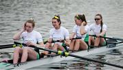 9 April 2021; Ireland rowers, from left, Emily Hegarty, Fiona Murtagh, Eimear Lambe and Aifric Keogh prior to their heat of the Women's Four during Day 1 of the European Rowing Championships 2021 at Varese in Italy. Photo by Roberto Bregani/Sportsfile