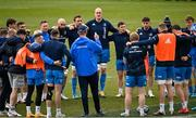 9 April 2021; Head coach Leo Cullen speaks to his players during the Leinster Rugby captain's run at Sandy Park in Exeter, England. Photo by Ramsey Cardy/Sportsfile