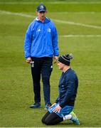 9 April 2021; Head coach Leo Cullen, left, and captain Jonathan Sexton during the Leinster Rugby captain's run at Sandy Park in Exeter, England. Photo by Ramsey Cardy/Sportsfile