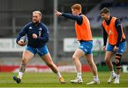 9 April 2021; Andrew Porter, left, Ciarán Frawley, centre, and Ross Byrne during the Leinster Rugby captain's run at Sandy Park in Exeter, England. Photo by Ramsey Cardy/Sportsfile