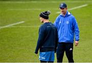 9 April 2021; Head coach Leo Cullen, right, and captain Jonathan Sexton during the Leinster Rugby captain's run at Sandy Park in Exeter, England. Photo by Ramsey Cardy/Sportsfile