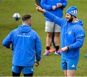 9 April 2021; Robbie Henshaw, right, and Dave Kearney during the Leinster Rugby captain's run at Sandy Park in Exeter, England. Photo by Ramsey Cardy/Sportsfile