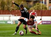 9 April 2021; Jack Malone of Derry City in action against Matty Smith of St Patrick's Athletic during the SSE Airtricity League Premier Division match between St Patrick's Athletic and Derry City at Richmond Park in Dublin. Photo by Harry Murphy/Sportsfile