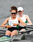 9 April 2021; Margaret Cremen, left, and Aoife Casey of Ireland compete in their heat of the Lightweight Women's Double Sculls during Day 1 of the European Rowing Championships 2021 at Varese in Italy. Photo by Roberto Bregani/Sportsfile