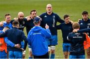 9 April 2021; Players, from left, Rory O'Loughlin, Scott Fardy, Jack Conan, Devin Toner, Luke McGrath and Hugo Keenan listen to head coach Leo Cullen during the Leinster Rugby captain's run at Sandy Park in Exeter, England. Photo by Ramsey Cardy/Sportsfile