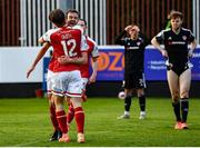 9 April 2021; Robbie Benson of St Patrick's Athletic celebrates with team-mate Matty Smith after scoring his side's first goal during the SSE Airtricity League Premier Division match between St Patrick's Athletic and Derry City at Richmond Park in Dublin. Photo by Harry Murphy/Sportsfile