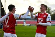 9 April 2021; Darragh Burns of St Patrick's Athletic celebrates with team-mate Chris Forrester after scoring his side's second goal during the SSE Airtricity League Premier Division match between St Patrick's Athletic and Derry City at Richmond Park in Dublin. Photo by Harry Murphy/Sportsfile