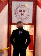 9 April 2021; FAI Chief Executive Jonathan Hill makes his way out to take his seat for the second half during the SSE Airtricity League First Division match between Shelbourne and Wexford at Tolka Park in Dublin. Photo by Eóin Noonan/Sportsfile