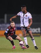 9 April 2021; Junior Ogedi-Uzokwe of Dundalk in action against Keith Ward of Bohemians during the SSE Airtricity League Premier Division match between Dundalk and Bohemians at Oriel Park in Dundalk, Louth. Photo by Stephen McCarthy/Sportsfile
