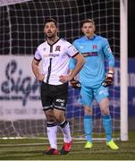 9 April 2021; Dundalk's Patrick Hoban, left, and goalkeeper Peter Cherrie during the SSE Airtricity League Premier Division match between Dundalk and Bohemians at Oriel Park in Dundalk, Louth. Photo by Stephen McCarthy/Sportsfile