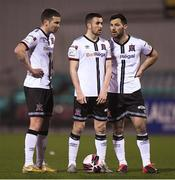 9 April 2021; Dundalk players, from left, Patrick McEleney, Michael Duffy, and Patrick Hoban stand over a free-kick during the SSE Airtricity League Premier Division match between Dundalk and Bohemians at Oriel Park in Dundalk, Louth. Photo by Ben McShane/Sportsfile