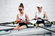 10 April 2021; Margaret Cremen, left, and Aoife Casey of Ireland before their A/B semi-final of the Lightweight Women's Double Sculls during Day 2 of the European Rowing Championships 2021 at Varese in Italy. Photo by Roberto Bregani/Sportsfile