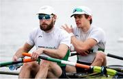 10 April 2021; Paul O'Donovan, left, and Fintan McCarthy of Ireland before their A/B semi-final of the Lightweight Men's Double Sculls during Day 2 of the European Rowing Championships 2021 at Varese in Italy. Photo by Roberto Bregani/Sportsfile