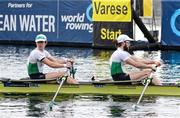 10 April 2021; Fintan McCarthy, left, and Paul O'Donovan of Ireland head to the start of their A/B semi-final of the Lightweight Men's Double Sculls during Day 2 of the European Rowing Championships 2021 at Varese in Italy. Photo by Roberto Bregani/Sportsfile