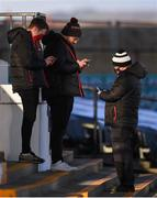 9 April 2021; Dundalk Commercial Consultant Ronan Shields, left, with groundsmen Jimmy Fisher, centre, and David Caldwell before the SSE Airtricity League Premier Division match between Dundalk and Bohemians at Oriel Park in Dundalk, Louth. Photo by Ben McShane/Sportsfile