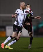 9 April 2021; Chris Shields of Dundalk and Liam Burt of Bohemians during the SSE Airtricity League Premier Division match between Dundalk and Bohemians at Oriel Park in Dundalk, Louth. Photo by Ben McShane/Sportsfile