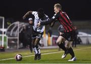 9 April 2021; Junior Ogedi-Uzokwe of Dundalk in action against Ciarán Kelly of Bohemians during the SSE Airtricity League Premier Division match between Dundalk and Bohemians at Oriel Park in Dundalk, Louth. Photo by Ben McShane/Sportsfile