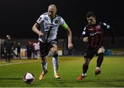 9 April 2021; Chris Shields of Dundalk and Ali Coote of Bohemians during the SSE Airtricity League Premier Division match between Dundalk and Bohemians at Oriel Park in Dundalk, Louth. Photo by Ben McShane/Sportsfile