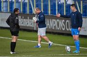 10 April 2021; Leinster captain Jonathan Sexton speaks with Referee Mathieu Raynal before the Heineken Champions Cup Pool Quarter-Final match between Exeter Chiefs and Leinster at Sandy Park in Exeter, England. Photo by Ramsey Cardy/Sportsfile