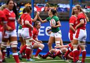 10 April 2021; Eimear Considine of Ireland celebrates after scoring a try during the Women's Six Nations Rugby Championship match between Wales and Ireland at Cardiff Arms Park in Cardiff, Wales. Photo by Ben Evans/Sportsfile