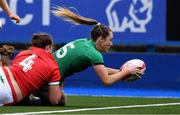 10 April 2021; Eimear Considine of Ireland scores a try during the Women's Six Nations Rugby Championship match between Wales and Ireland at Cardiff Arms Park in Cardiff, Wales. Photo by Ben Evans/Sportsfile