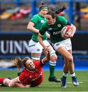 10 April 2021; Hannah Tyrrell of Ireland is tackled by Natalia John of Wales during the Women's Six Nations Rugby Championship match between Wales and Ireland at Cardiff Arms Park in Cardiff, Wales. Photo by Ben Evans/Sportsfile