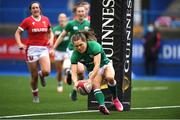 10 April 2021; Beibhinn Parsons of Ireland scores a try during the Women's Six Nations Rugby Championship match between Wales and Ireland at Cardiff Arms Park in Cardiff, Wales. Photo by Ben Evans/Sportsfile