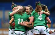 10 April 2021; Beibhinn Parsons, 11, of Ireland celebrates with team-mates after after scoring a try during the Women's Six Nations Rugby Championship match between Wales and Ireland at Cardiff Arms Park in Cardiff, Wales. Photo by Ben Evans/Sportsfile
